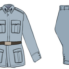 A detailed look at his uniform.