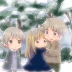 Russia when he was younger with his sisters.