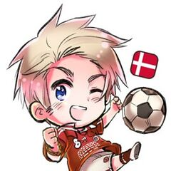 Chibi Denmark in soccer/football uniform, drawn for the FIFA 2010 World Cup.