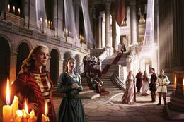 Lady Ellyn Reyne and Lady Jeyne Marbrand in the court of Lord Gerold Lannister by Magali Villeneuve©.JPG