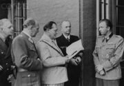 Wolfsschanze - left to right - Joachim von Ribbentrop, Bruno Loerzer, Hermann Goering, and Karl Donitz Hermann Fegelein