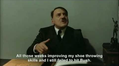Hitler throws his shoes at President Bush