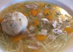 Chicken and matzo ball soup