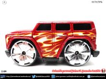 Mercedes Benz G 500 (61).1-64.Hot Wheels. Red with flames. Llantas Blings 1