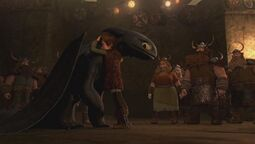 Hiccup and Toothless hug