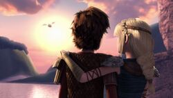 Hiccup and Astrid watching Heather leaving