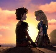 Hiccup and Astrid holding hands