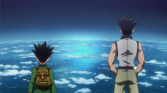 Gon and Ging view atop the tree