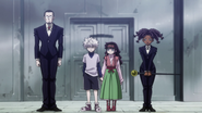 Gotoh and Canary as Killua's escort