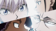 Killua, Amane, Gotoh and Canary surprised