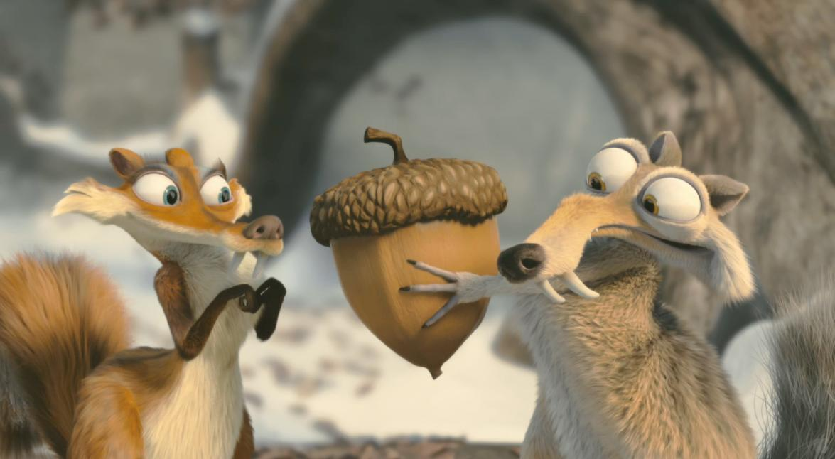 Scrat graciously offers his acorn to Scratte as a peace offering. (Credit: Twentieth Century Fox via iceage.wikia.com)