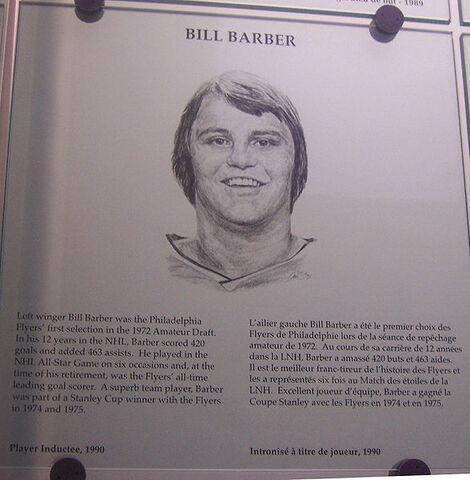 File:Bill Barber plaque hhof.jpg