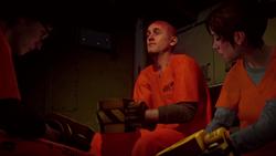 Eugene, Hank and Fetch in prison van