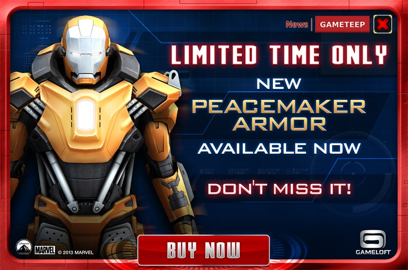Iron Man Mark 36 Peacemaker Iron Man 3 - The Official Game
