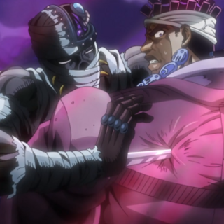 Stabbing Avdol with a sneak attack