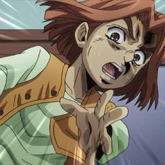 Warning Josuke about Killer Queen's approaching bomb.