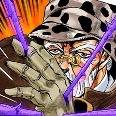 Joseph Joestar using Hermit Purple in <a href=