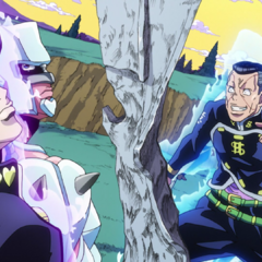 Okuyasu mentions that the tower is pretty sturdy after they damaged it so much.
