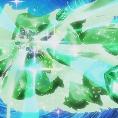 Hierophant Green's Emerald Splash in the Anime.