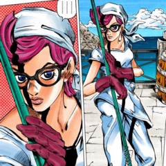 Trish disguised as a janitor