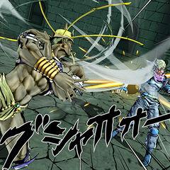 Wamuu fighting Ceasar in Jojo's Bizarre Adventure:Eyes of Heaven PS3/PS4