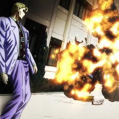 Killer Queen blows up Shigechi.