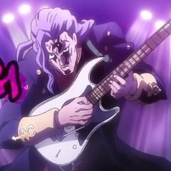Expressing his rage through a guitar solo.