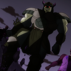 Tarkus destroys Bruford's armor after his death