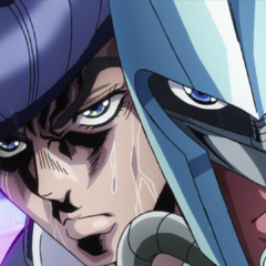 Crazy Diamond and Josuke glare at <a href=