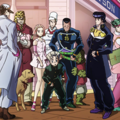 Nijimura's father and the other warriors of Morioh.