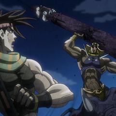 Wamuu fighting Joseph in the coliseum with a column
