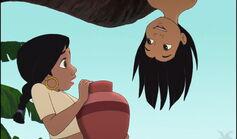 Shanti is surprised to see Mowgli upside down