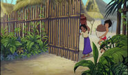 Mowgli and Shanti are both opening the village gate