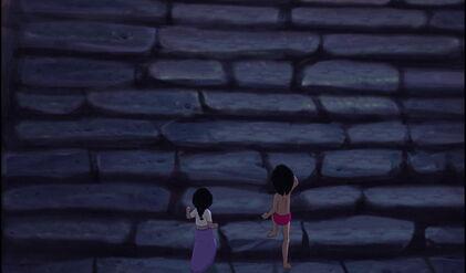 Mowgli and Shanti are both running upstairs