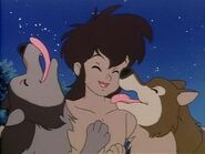 Akru and Sura licking Mowgli
