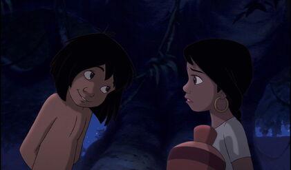 Mowgli smiles at Shanti