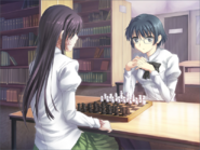 Shizune playing chess against Hanako