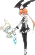 Alisa and Shin Keroro shaking hands
