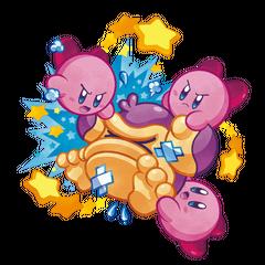 Artwork de tres Kirbys atacando a un <a href=