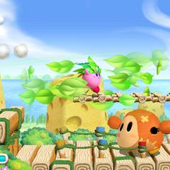 Kirby atacando con su habilidad Hoja.