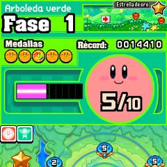 Varios Kirby junto a una estrella.