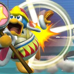 Rey Dedede siendo atacado por la entrenadora de Wii Fit