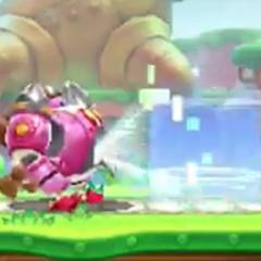 Kirby usando la habilidad de análisis para copiar la información del enemigo