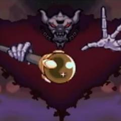 Necrodeus (el jefe final del juego) en la introducción de Kirby Mass Atack