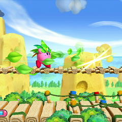 Kirby hoja atacando a un Waddle Dee.