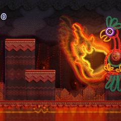 Kirby luchando contra el jefe <b>Flamenko</b>.