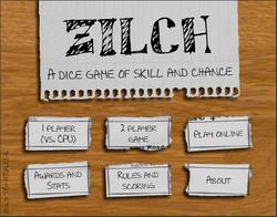 Zilch Main Menu
