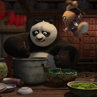 Wo Hop attacking Po with a wooden spoon