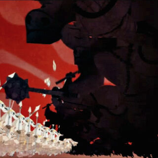 The episode's 2D segment showing the war against the <a href=