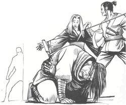 Shizue stabs Hiroru